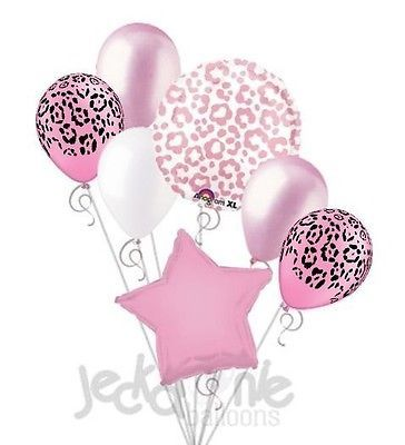 7pc Pink Cheetah Print Balloon Bouquet Happy Birthday Baby Shower Animal Leopard