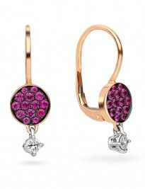 18ct rose gold ruby and diamond fancy drop earrings.