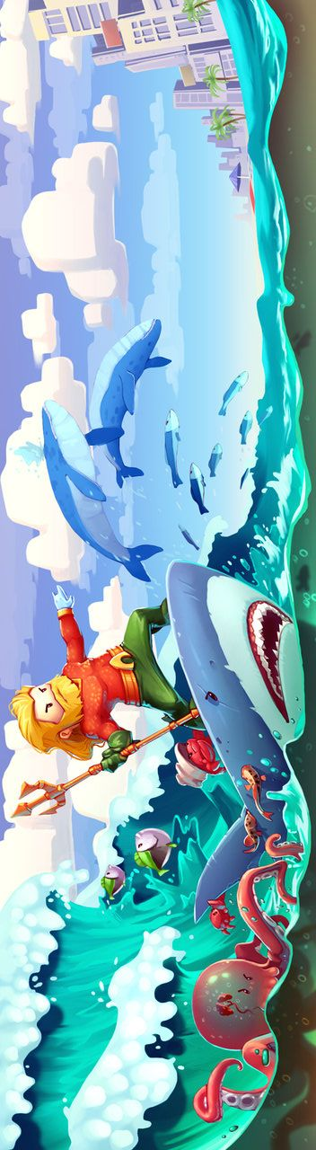 Aquaman by Alex Dima. I don't care what people say. Aquaman is a badass. A shark-riding badass.