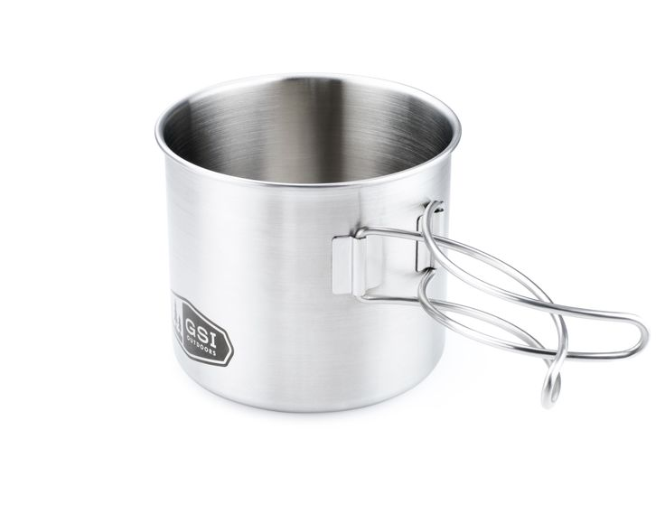 Glacier Stainless Bottle Cup/Pot - The 18 fl. oz. Glacier Stainless Bottle Cup/Pot is designed to fit around most round 1 liter water bottles, eliminating the wasted space of packing a more traditional cup. The wire handles fold flat to save space and extend for cooking or a little bit of extra reach so you don't end up in the creek.