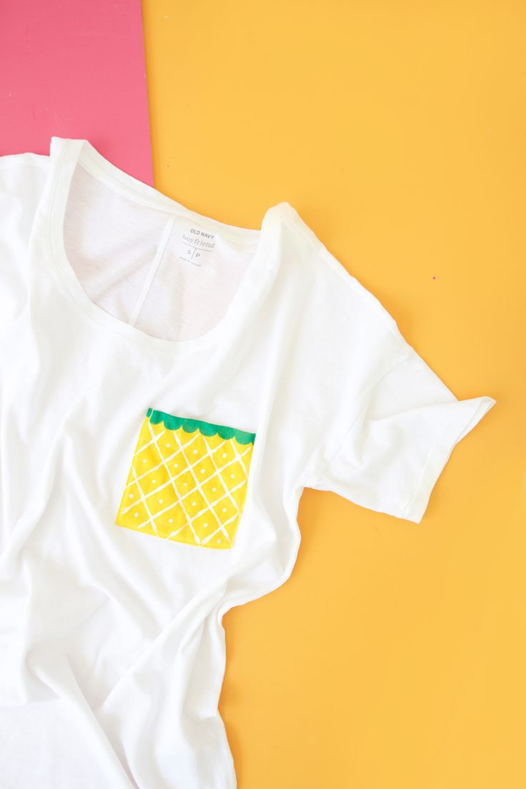 Use a comfy and affordable Old Navy Boyfriend Tee to create perfect summertime DIY fruit pocket tees using basic crafting supplies