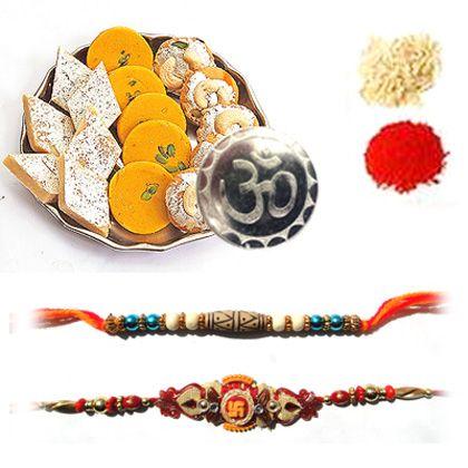 Double Rakhi with assorted sweets - Rakhi To Dubai
