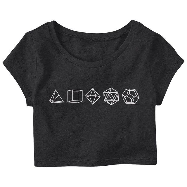 Platonic Solids Crop-T. Available in Black, Navy and White.