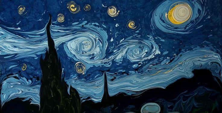 garip ay 用一碗水畫出了一個梵高。他所採用的繪畫方法其實是一種土耳其的 Ebru 濕拓畫藝術,簡單來說就是在水上畫畫。