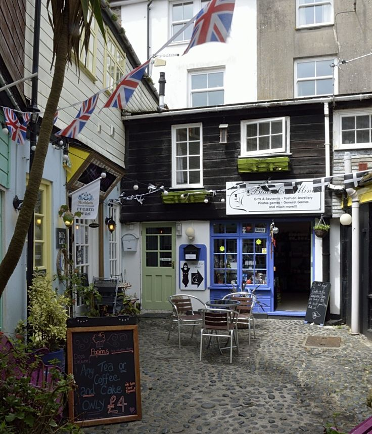 Small courtyard of shops in St Ives, Cornwall