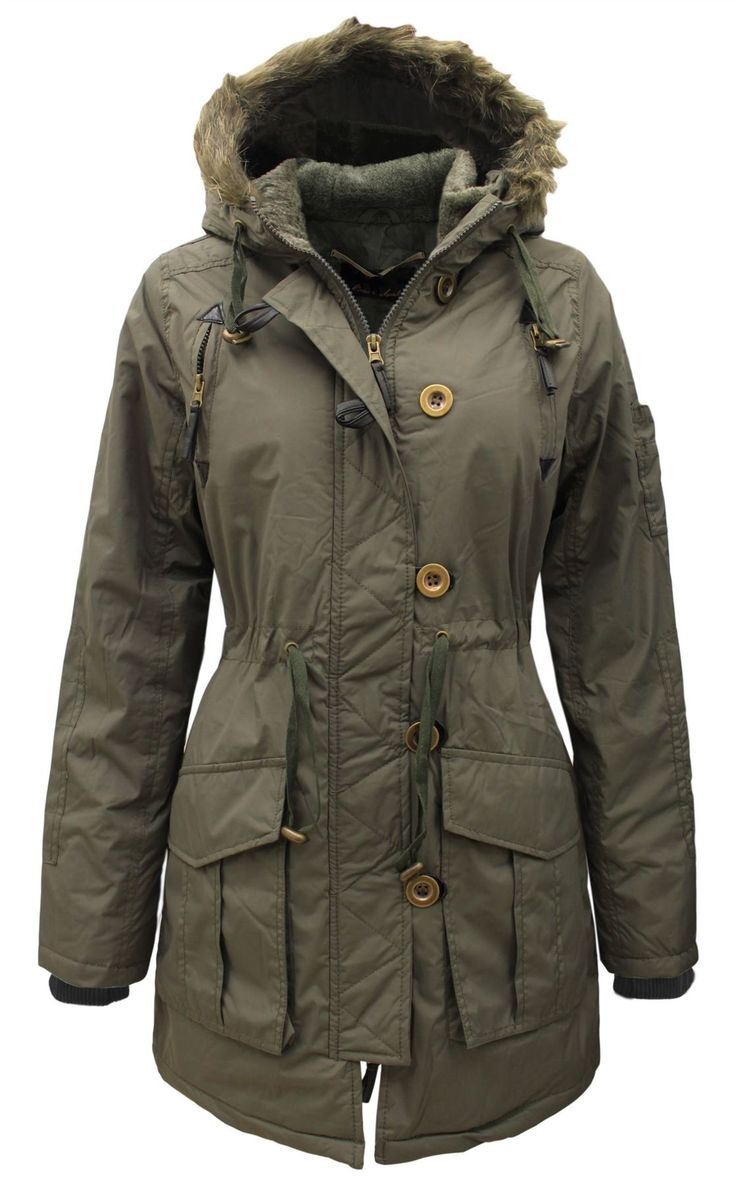 Brave Soul Women's Military Fur Hooded Quilted Padded Ladies Parka Jacket Coat Khaki 10