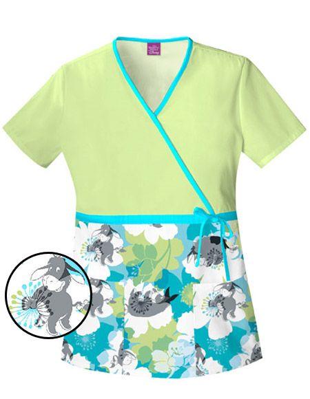 Disney Women Cinch-Waist Eeyore Floral Camo Nurse Scrub Top