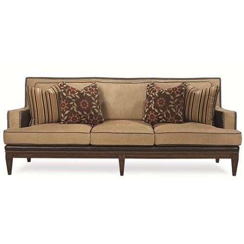 american stationary sofa with leather and brass nailhead trim by schnadig olindes furniture sofa baton rouge and lafayette louisiana