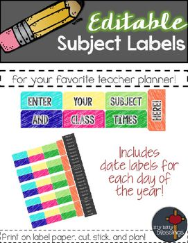 "This product has been updated! If you purchased it prior to May 2016, please go to ""My Purchase"" and download the update file.Looking to add some color to your favorite teacher planner? These editable teacher planner subject header stickers are just for you!"
