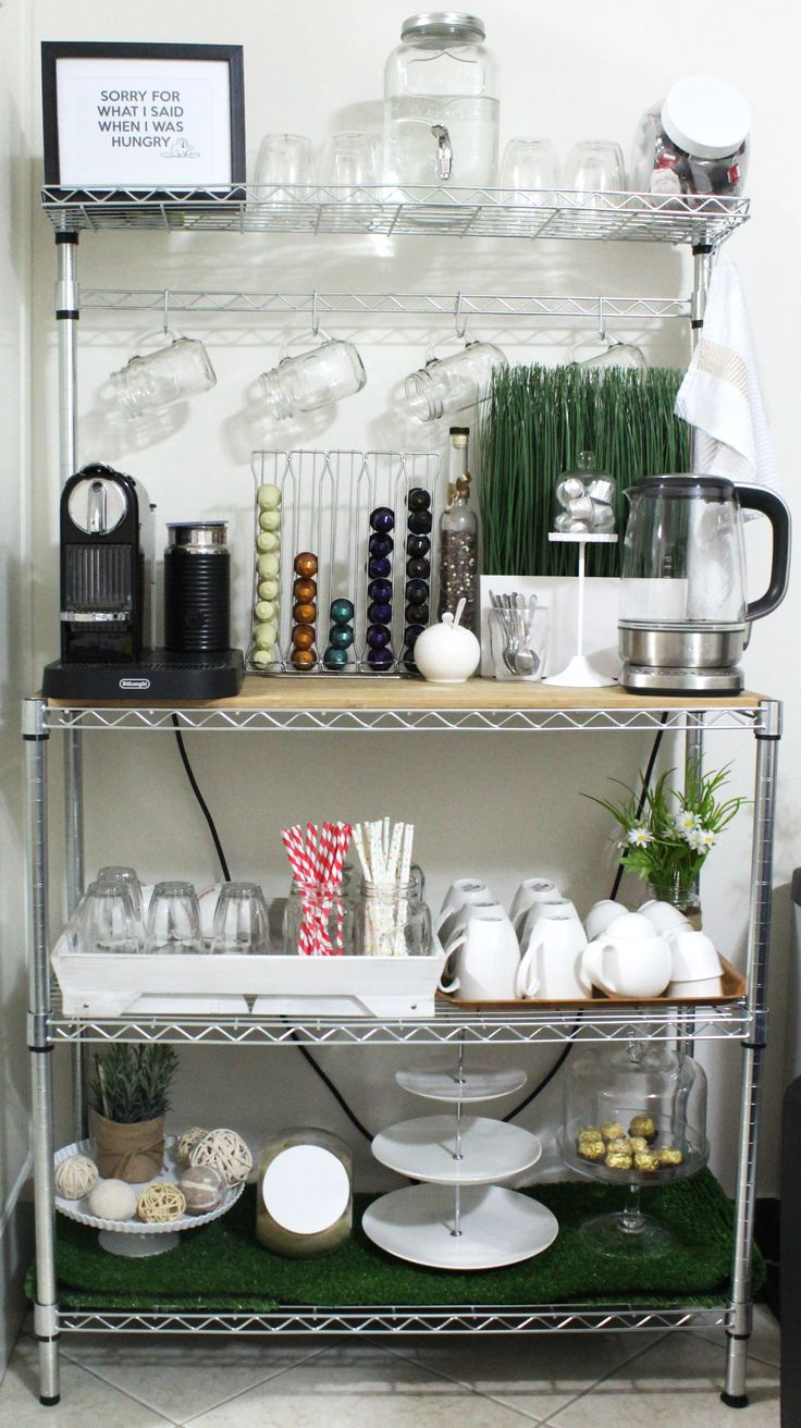 Home beverage center/station.   Imported Bakers rack from the US - Overstock.com  Appliances - Appliancesonline.com.au Glasses - Victoria's basement Tray & tea cup set - Zanui.com.au Cake stand - Target Plants - Target & Ikea Misc - Kmart - Nespresso coffee machine