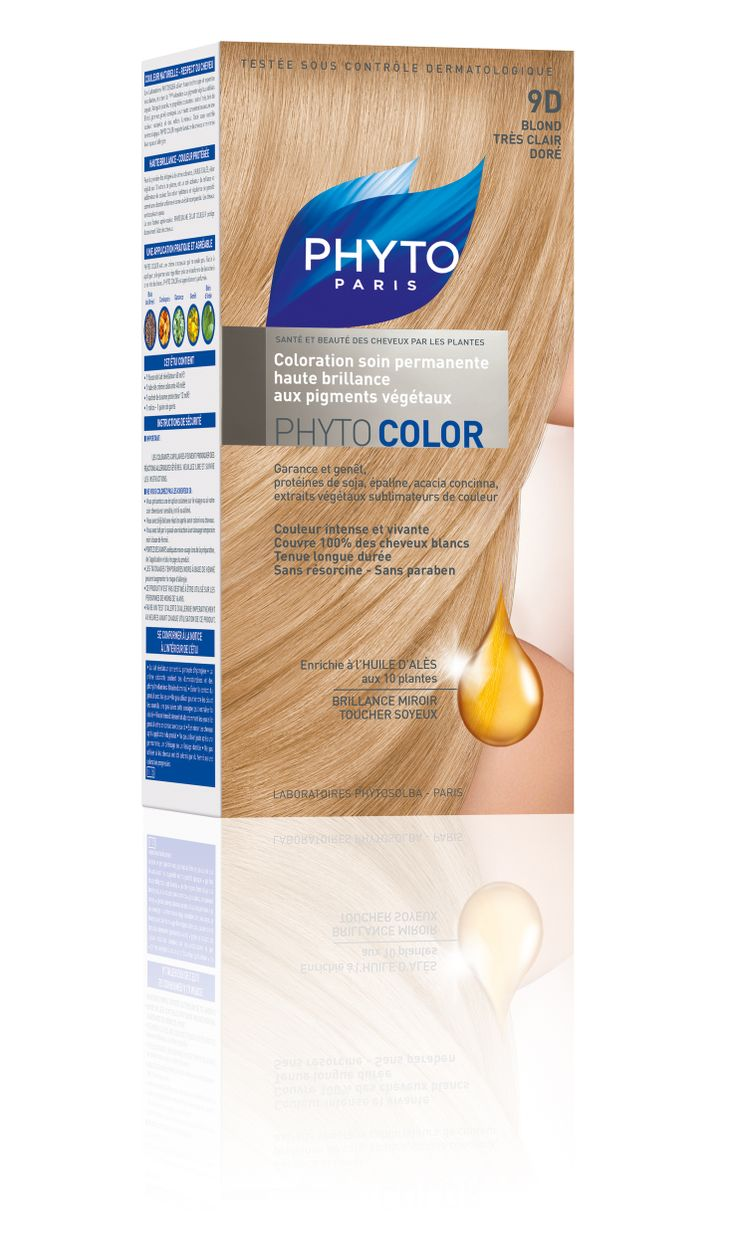 phytocolor coloration permanente tous cheveux nuance 9d blond trs clair dor phyto - Colorations Phyto