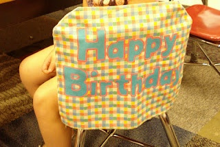 "Love , great idea! ""Happy Birthday!"" chair cover...Every student loves to feel special on their birthday!"