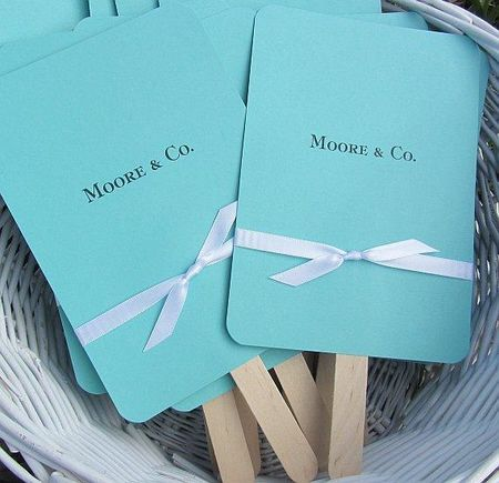 Wedding Fans, cd holders, goodie bags - Aqua Blue with Ribbon, look like Tiffany's