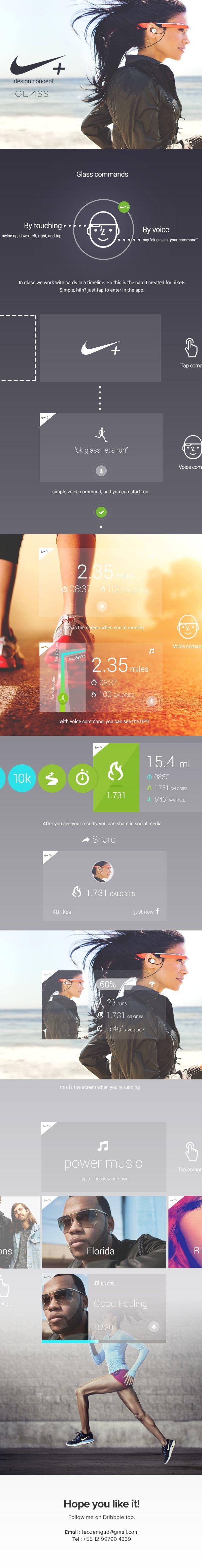 Nike Running for Google Glass by Leonardo Zem, via Behance