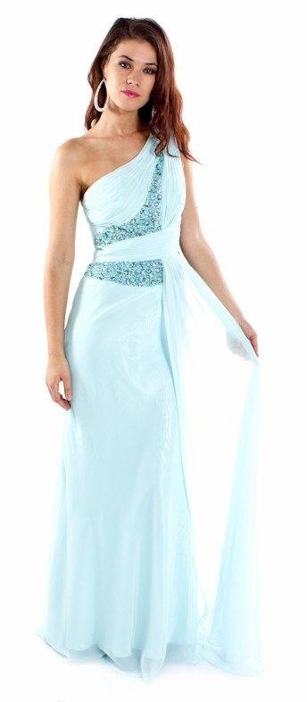 Mint Chiffon Dress One Strap Long Mint Pageant Dress Jewel Beads $237.99