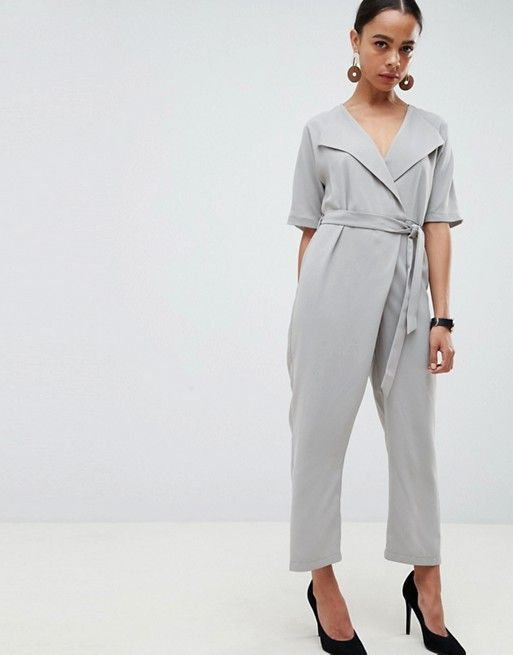bfff5cfbd5a DESIGN Petite Wrap Jumpsuit With Self Belt