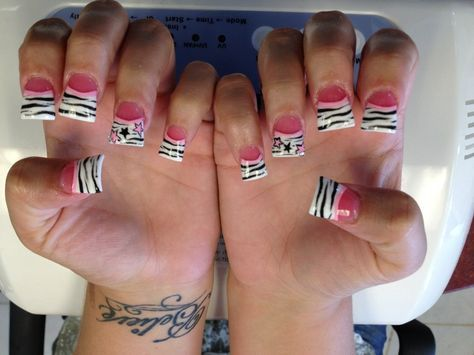 zebra acrylic nails