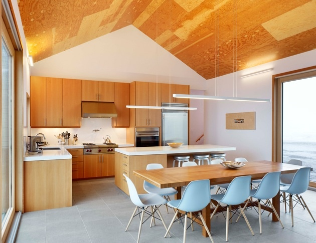 Cool chairs and interesting use of plywood for the ceiling.