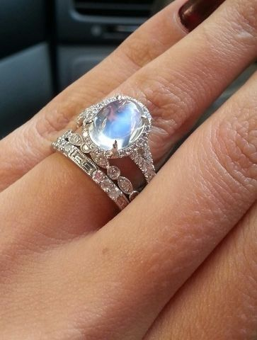 Over the moon[stone]! - a glowing stone in a diamond halo. Moonstone Rings  EngagementMoonstone ...