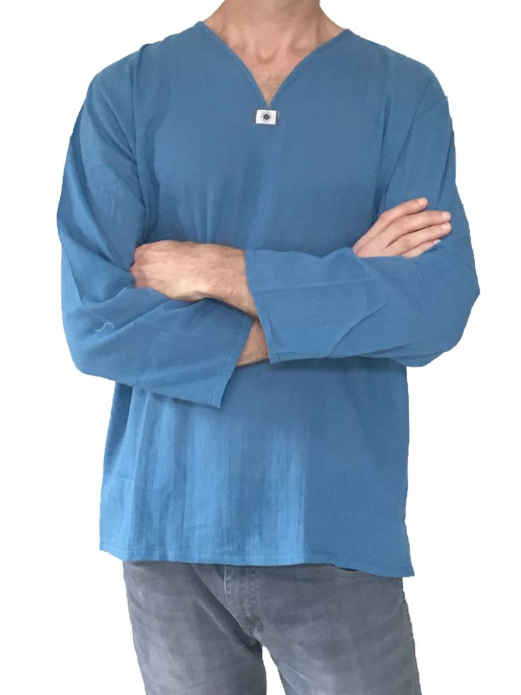 Thai 100% Cotton Shirts in Steel Blue are soft and light weight. So comfortable…