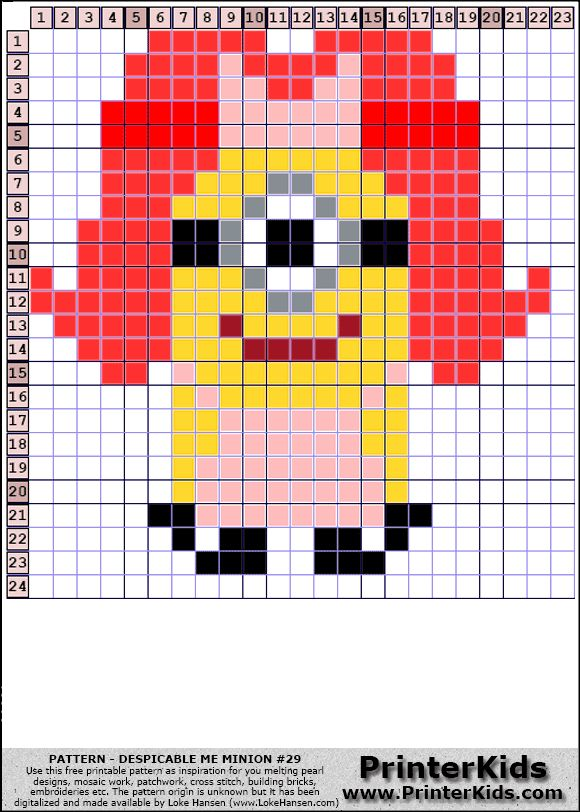 Despicable Me Female Minion perler bead pattern i perler