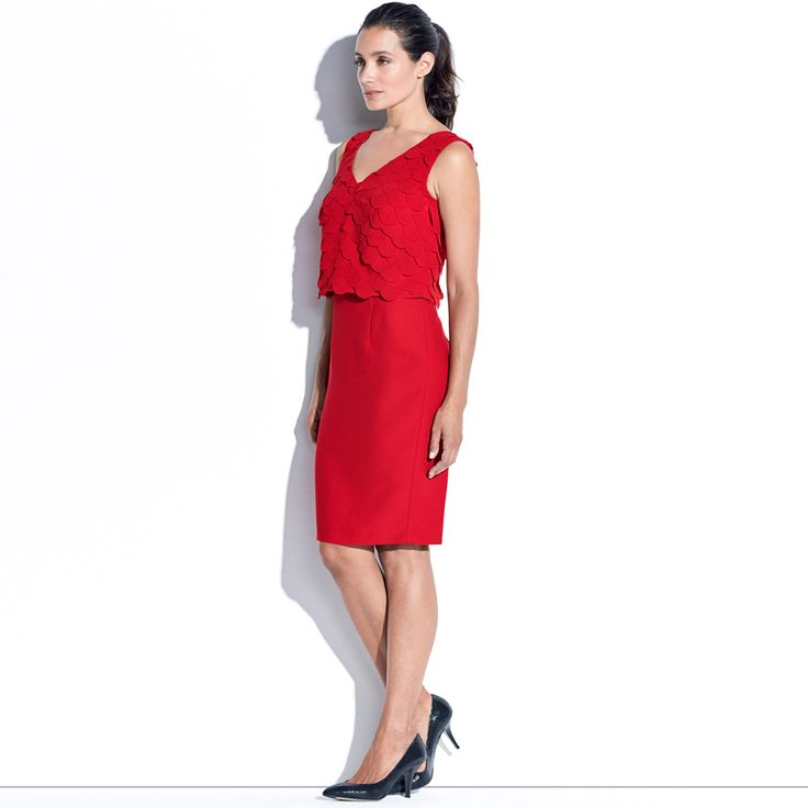 HARLOW SPECIAL OCCASION DRESS - Ruby This sleeveless pencil dress is a great evening option. It features all over soft georgette laser cut bodice layered over a fitted pencil dress.