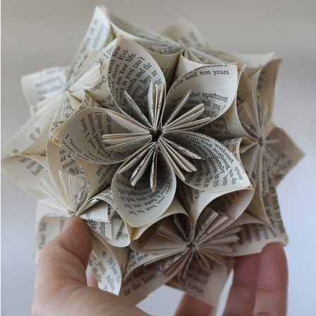 Book Page origami sphere featured @savedbyloves , via Craft Foxes #PaperCrafts #Upcycle