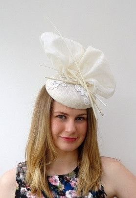 hat with sculpted bow , lace detail and quill feature – Sassy Millinery Onlinestore
