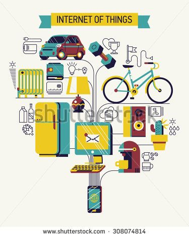 Beautiful vector concept design on internet of things | Future of network high technology in everyday life | Internet of everything - stock vector