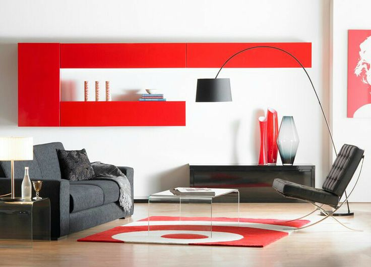 El color rojo sobre blanco espectacular salas apartamentos pinterest el color rojo - Feng shui colores casa ...