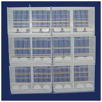 YML Lot of Six Small Bird Cage with Divider Color: White