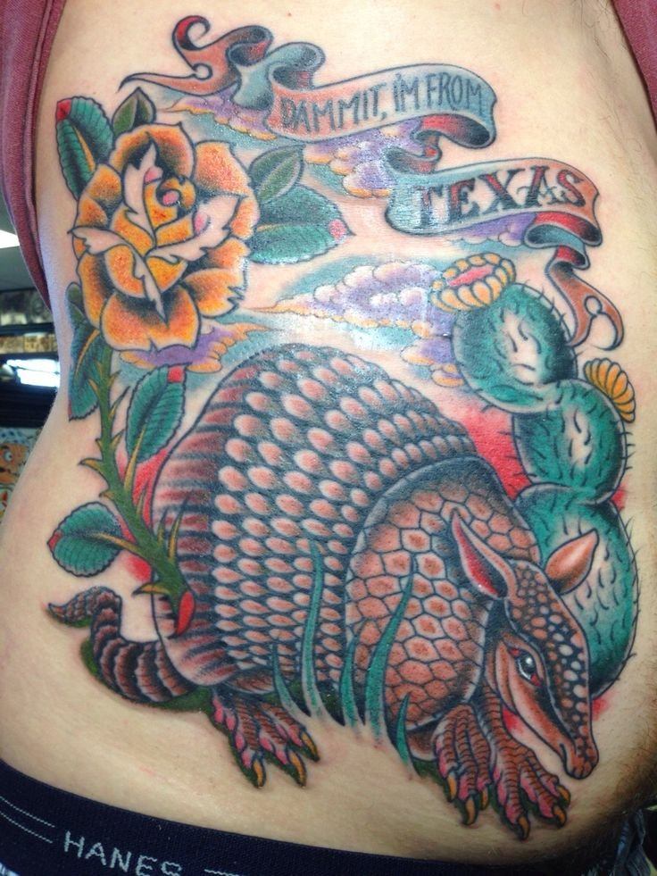 Traditional texas pride armadillo by kelly edwards at for Tattoos san antonio tx