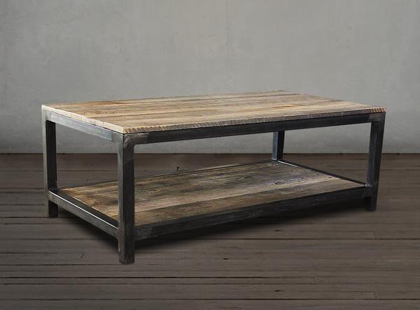 Nice Reclaimed Wood Mid Century Modern Two Tier Bi Level Coffee Table u JW Atlas