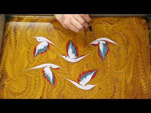 ▶ Ebru Art Garip Ay - YouTube Turkish water marbling art