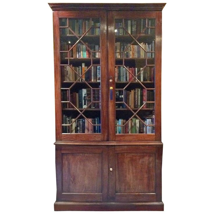 Antique Bookcase Victorian Mahogany Display Cabinet Two Door 19th Century