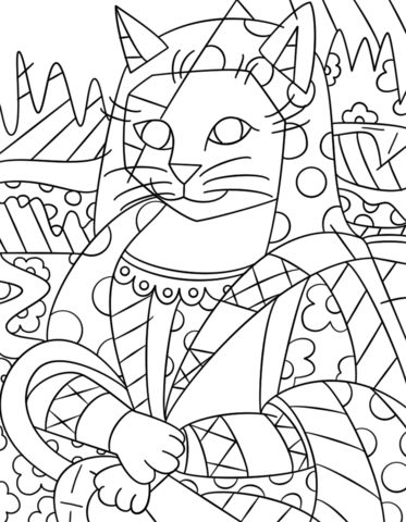 Mona Cat by Romero Britto coloring page from Romero Britto category. Select from 28148 printable crafts of cartoons, nature, animals, Bible and many more.