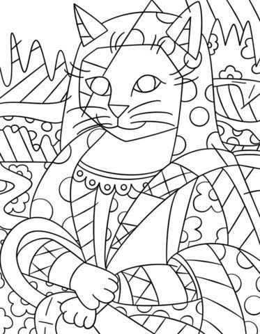 Mona Cat par Romero Britto Coloriage