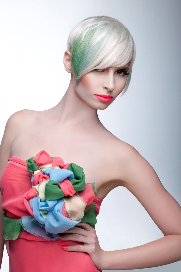 Playful green hair color