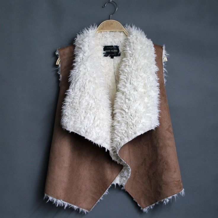 Fashion 2015 Women faux fur vest short solid Leisure turn down collar outwear coats WV09