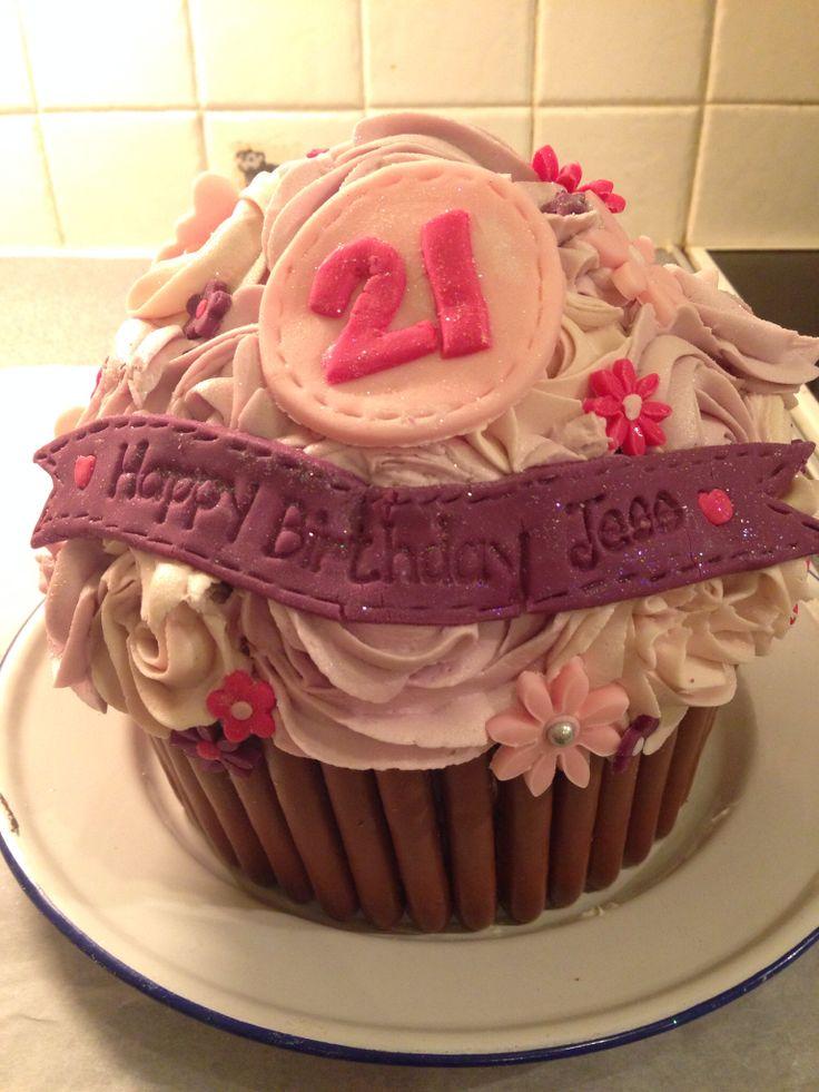 Pink and purple giant 21st birthday cupcake!