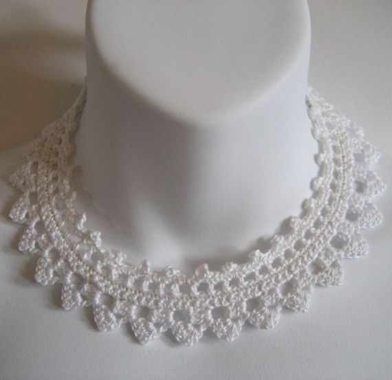 White Crochet Lace Choker Necklace Collar - Wedding Jewelry Not for Brides Only