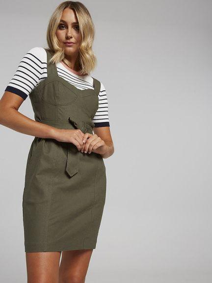 8e72fdc31a8 Linen Blend Belted Corset Pencil Dress
