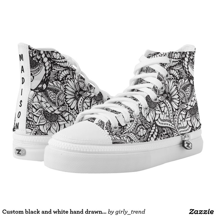 Custom black and white hand drawn floral pattern printed shoes