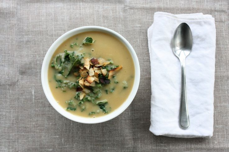 Roasted Rutabaga and Parsnip Soup with Kale and Coconut Bacon - Choosing Raw
