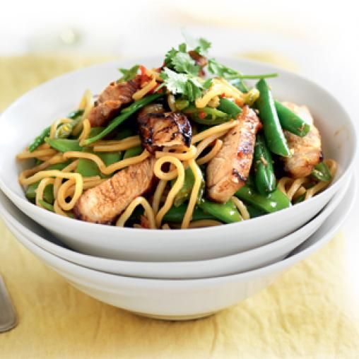 Soy, ginger and chilli chicken with noodles