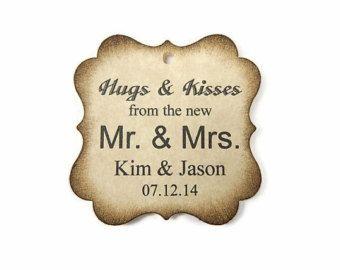 """Wedding Favor Tags Custom Personalized Tags Hugs & Kisses Rustic Wedding - 2"""" x 2"""" - Choose quantity"""