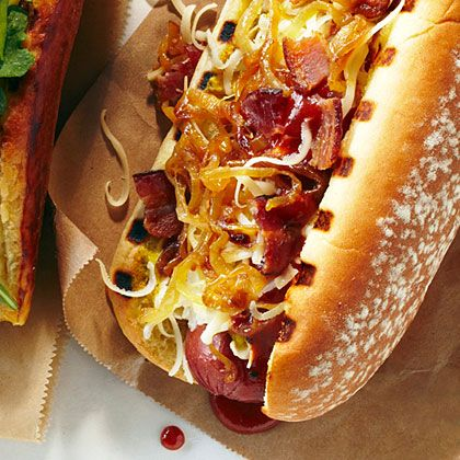 The Cowboy Hot Dog with Bacon, Onion,Barbecue Sauce, Spicy brown Mustard, Mayo and White Cheddar Cheese