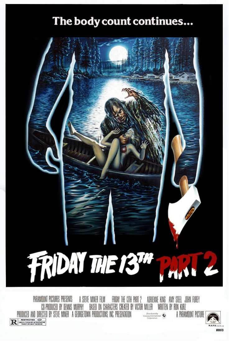 onxompax:  The original poster art for Friday The 13th Part II, it was not used because they didn't want to give away the plot by showing Jason.