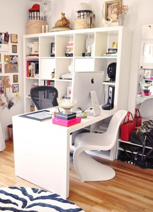 Ikea Expedit shelving and desk: Idea, Crafts Rooms, Offices Design, Offices Spaces, Desks, Small Home, Sewing Rooms, Home Offices, Design Offices