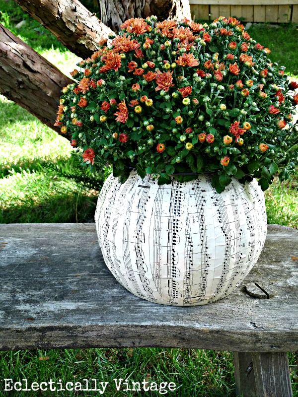 DIY #Halloween Music Sheet Planter From A Plastic #pumpkin! Perfect Fall  Decorations At